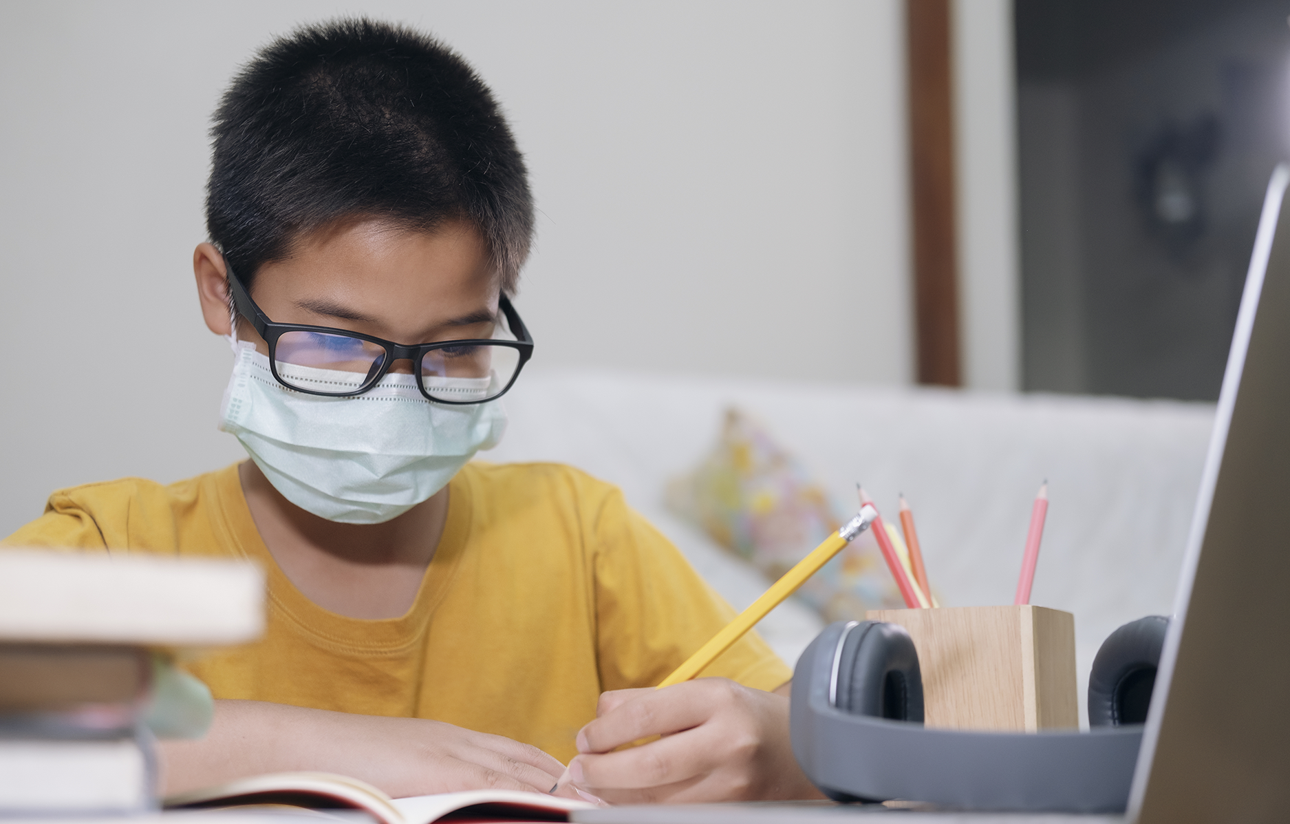 Child working at home
