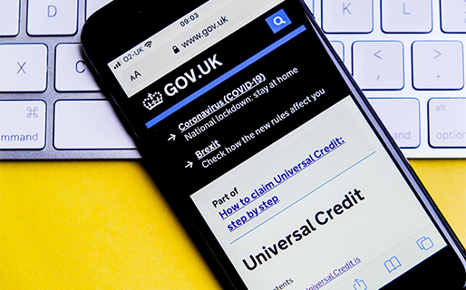 Universal Credit website on a mobile phone